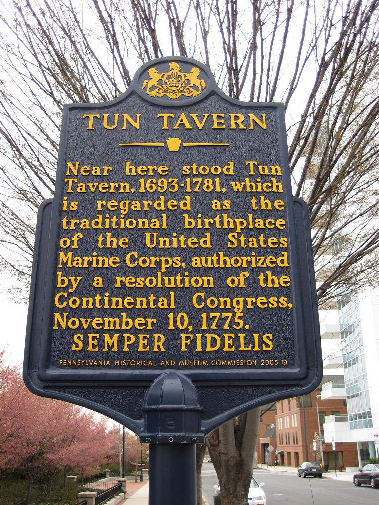 The historical marker where the Tun Tavern used to be. It ends
